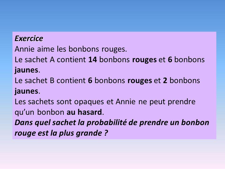 Exercice Annie aime les bonbons rouges. Le sachet A contient 14 bonbons rouges et 6 bonbons jaunes.
