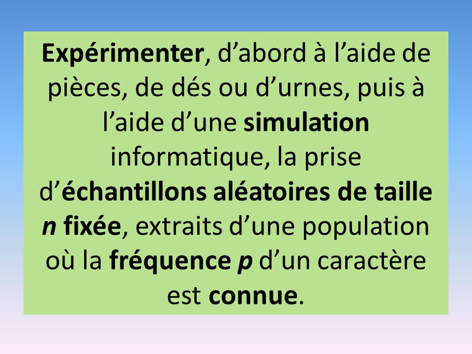 Expérimenter, d'abord à l'aide de pièces, de dés ou d'urnes, puis à l'aide d'une simulation informatique, la prise d'échantillons aléatoires de taille n fixée, extraits d'une population où la fréquence p d'un caractère est connue.