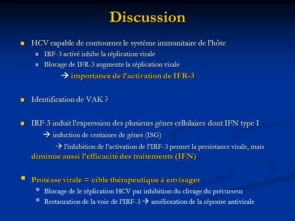 Discussion HCV capable de contourner le système immunitaire de l'hôte
