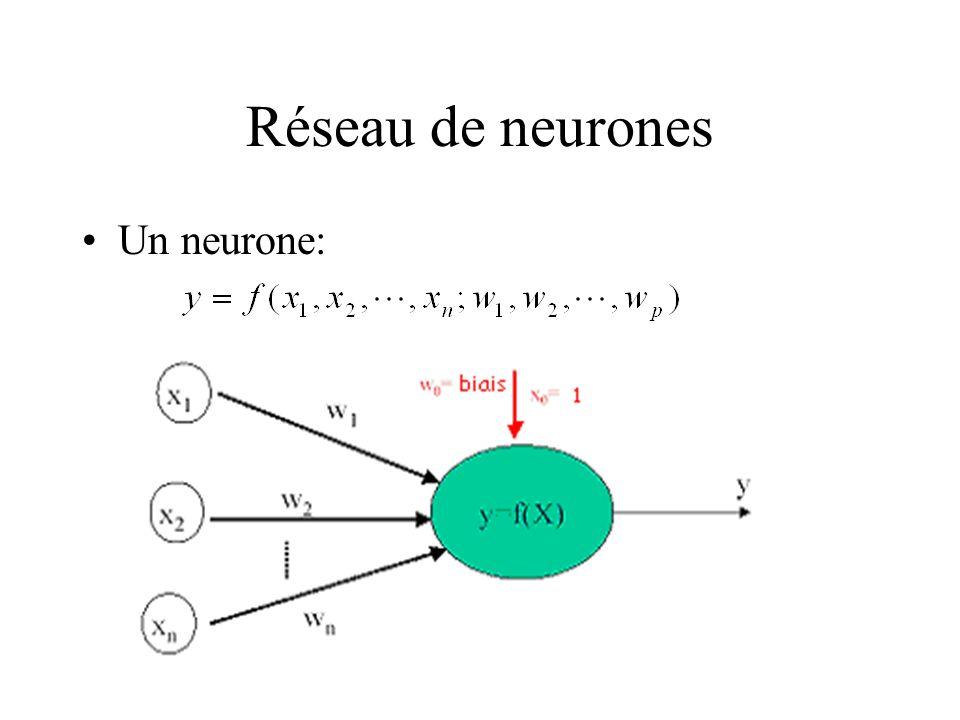 Réseau de neurones Un neurone: