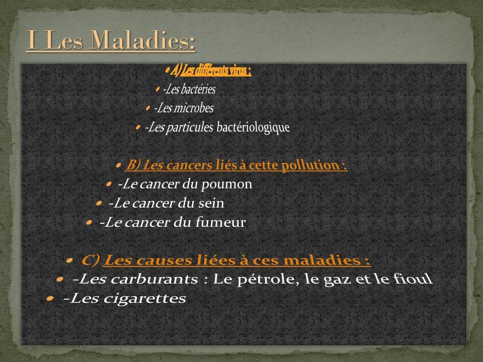 I Les Maladies: A) Les différents virus : -Les bactéries -Les microbes