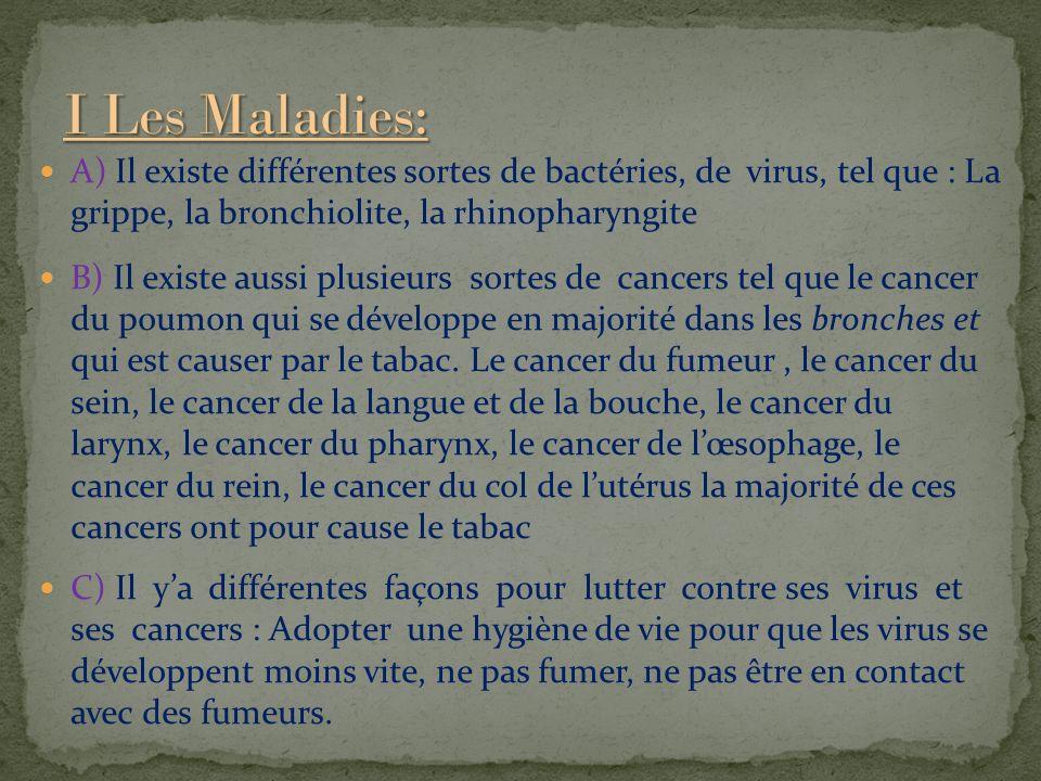 I Les Maladies: A) Il existe différentes sortes de bactéries, de virus, tel que : La grippe, la bronchiolite, la rhinopharyngite.