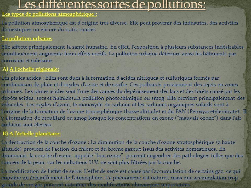 Les différentes sortes de pollutions: