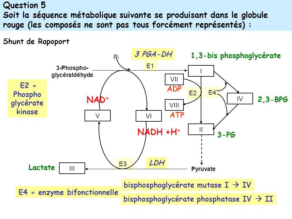 Question 5 Soit la séquence métabolique suivante se produisant dans le globule rouge (les composés ne sont pas tous forcément représentés) :
