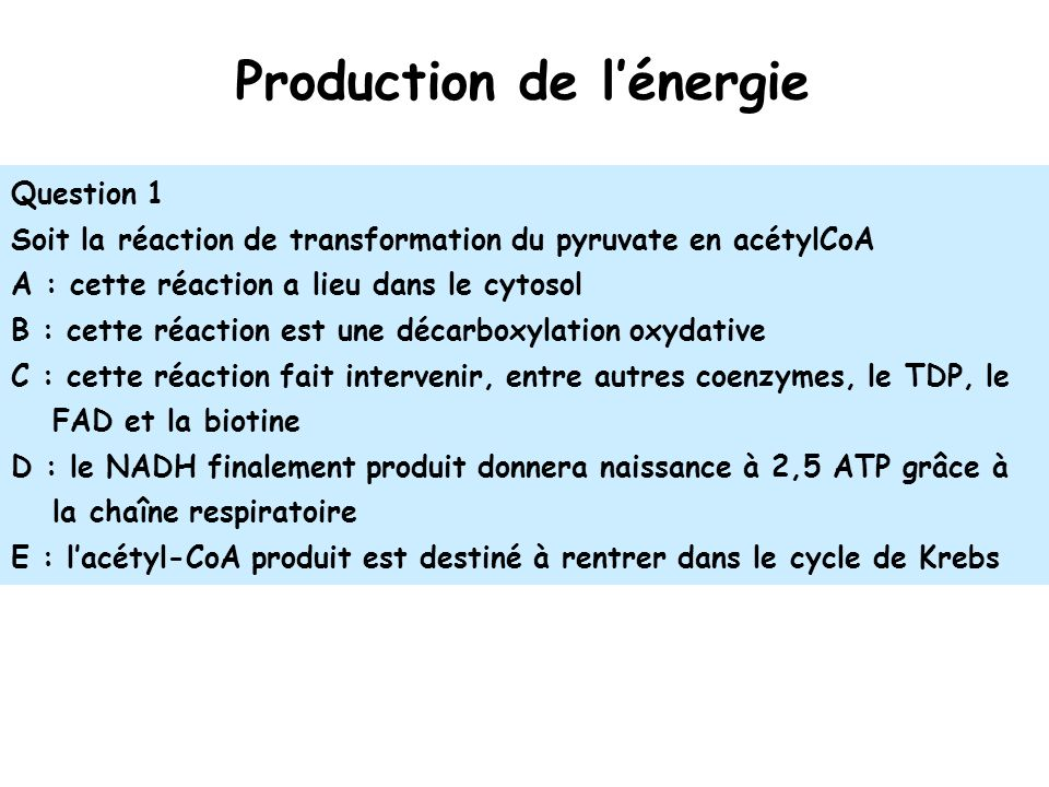 Production de l'énergie