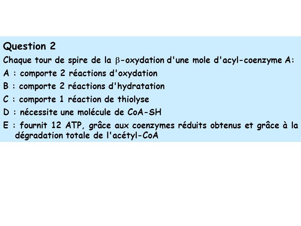 Question 2 Chaque tour de spire de la b-oxydation d une mole d acyl-coenzyme A: A : comporte 2 réactions d oxydation.