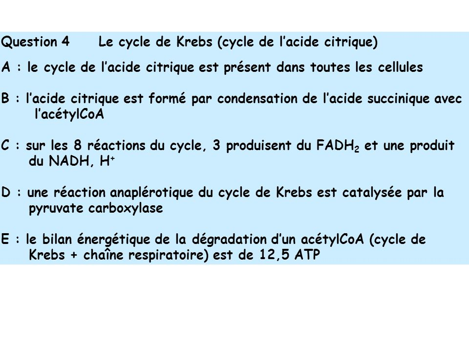 Question 4 Le cycle de Krebs (cycle de l'acide citrique)