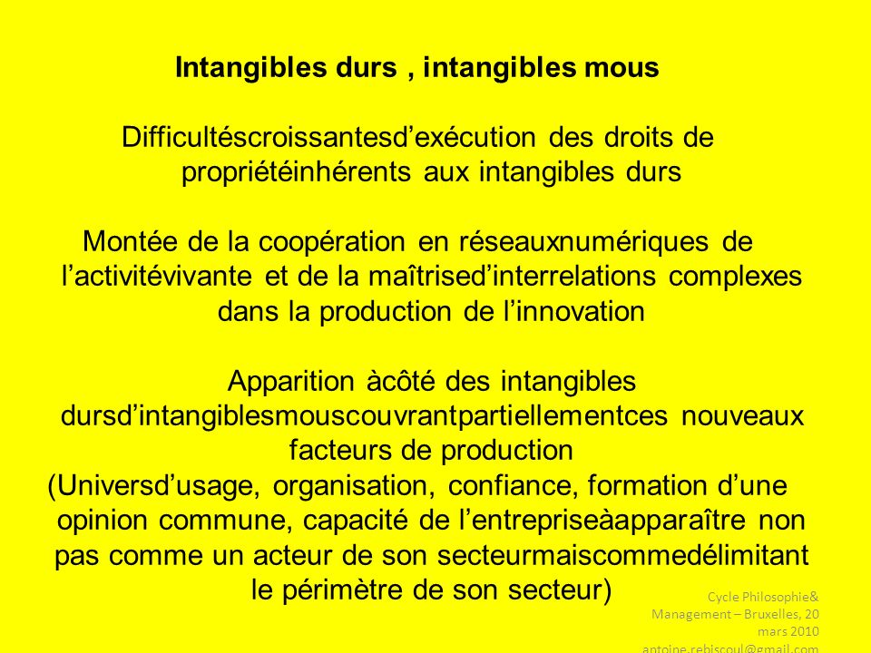 Intangibles durs , intangibles mous