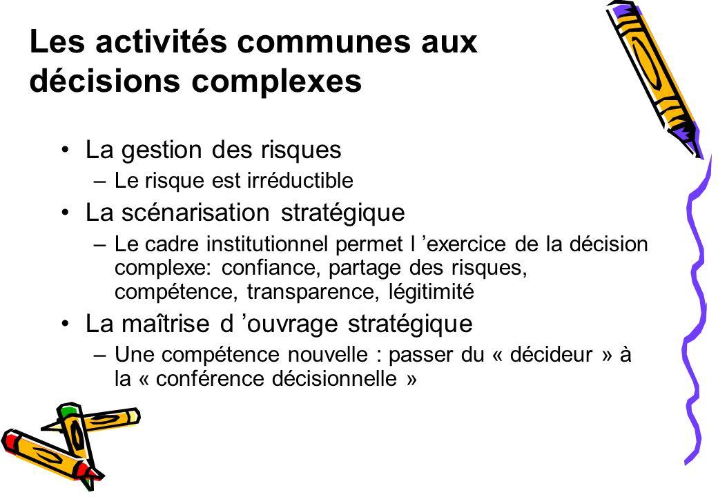 Les activités communes aux décisions complexes