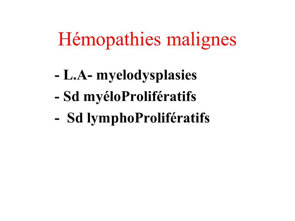 Hémopathies malignes - L.A- myelodysplasies - Sd myéloProlifératifs