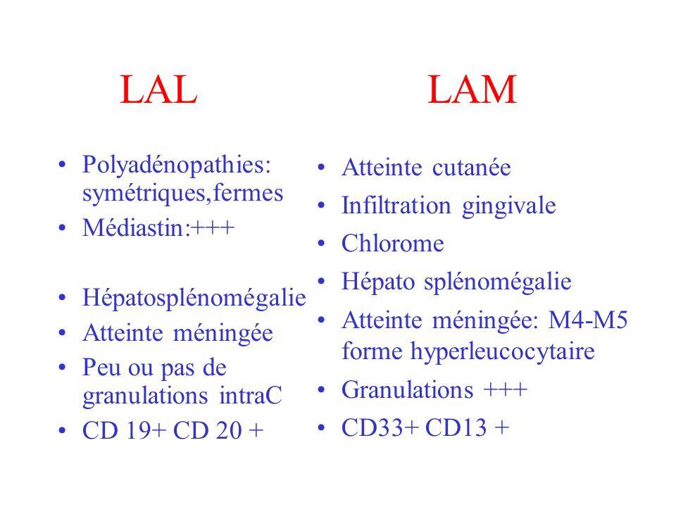 LAL LAM Polyadénopathies: symétriques,fermes Médiastin:+++