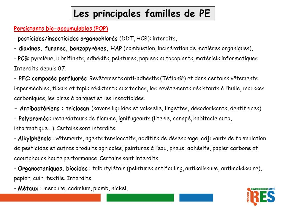 Les principales familles de PE