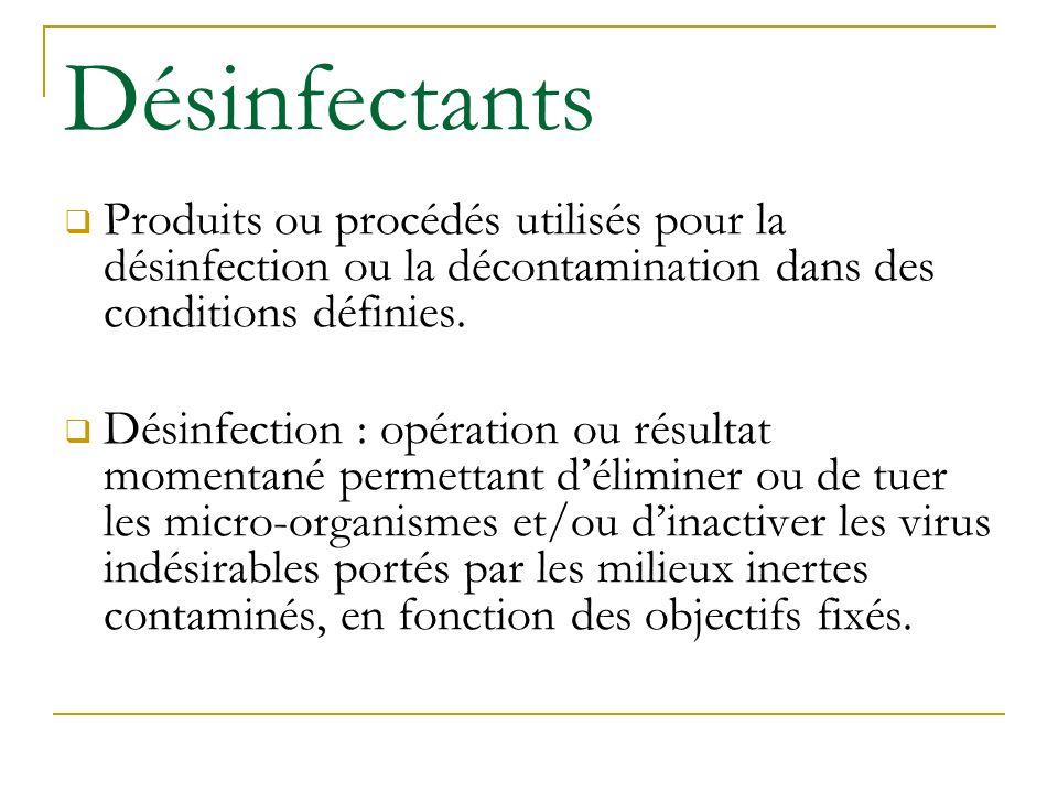 Désinfectants Produits ou procédés utilisés pour la désinfection ou la décontamination dans des conditions définies.