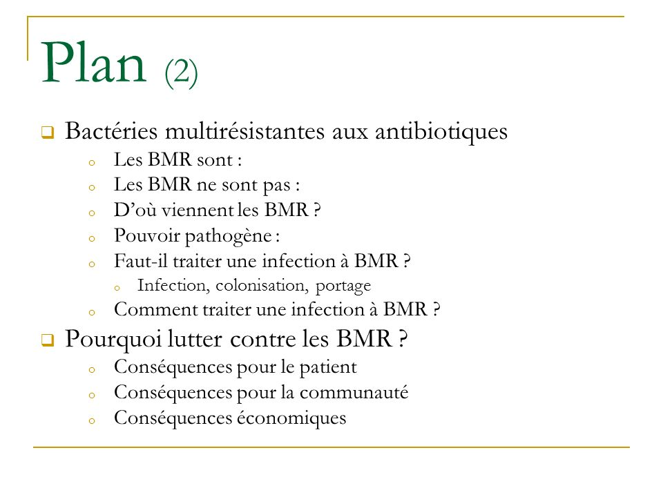 Plan (2) Bactéries multirésistantes aux antibiotiques
