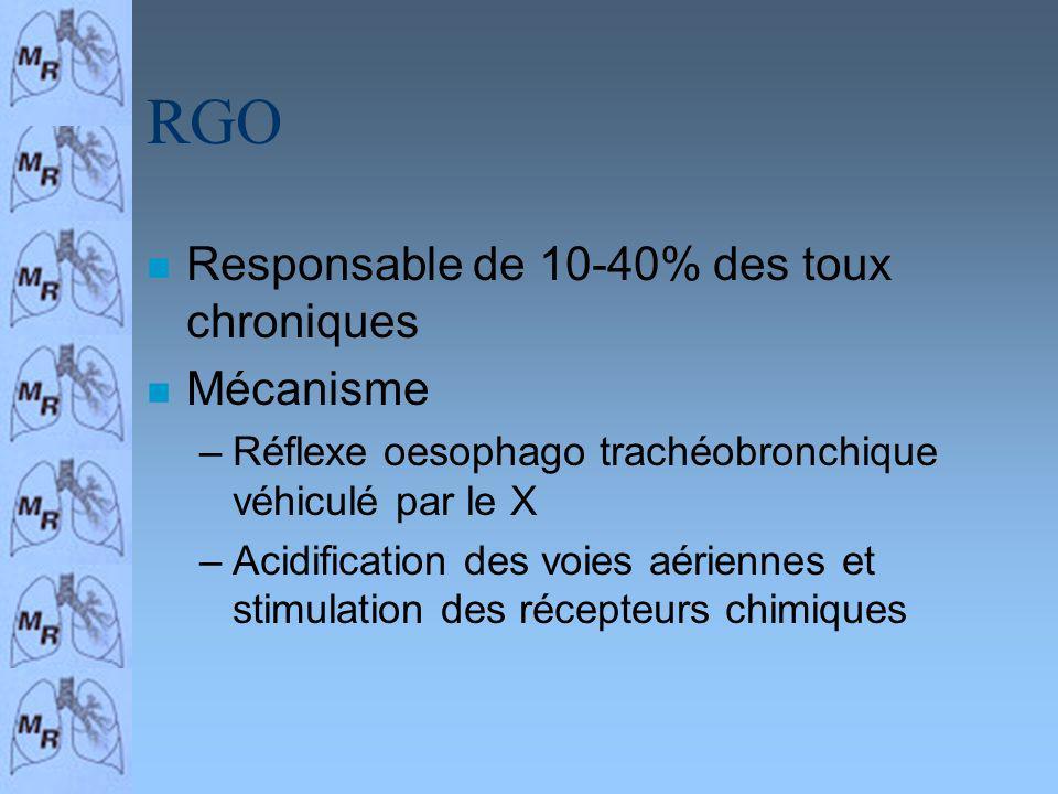 RGO Responsable de 10-40% des toux chroniques Mécanisme