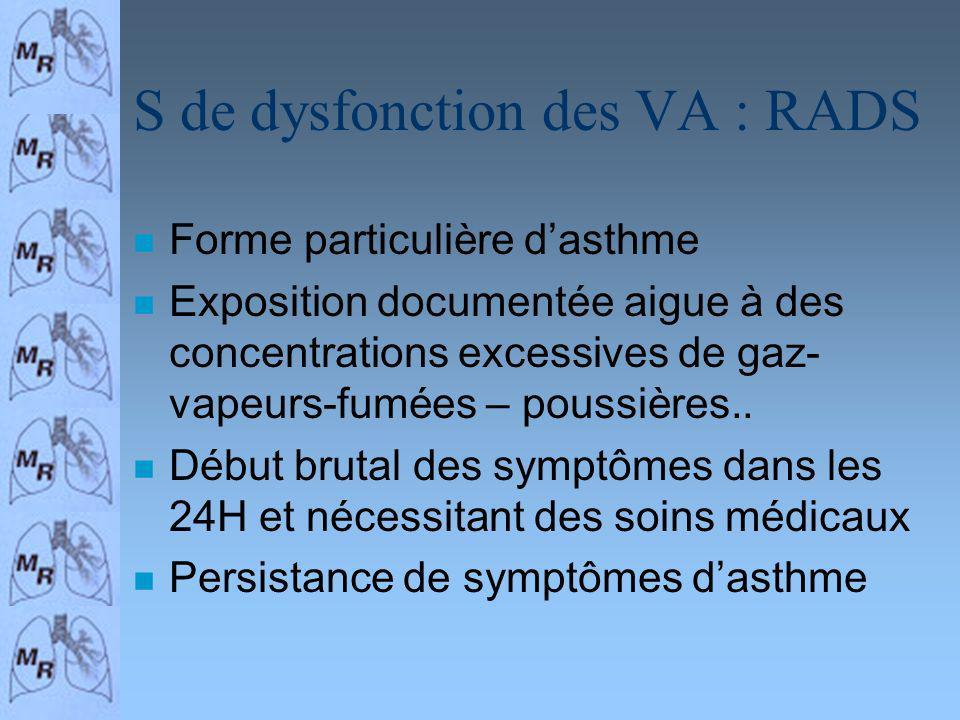S de dysfonction des VA : RADS