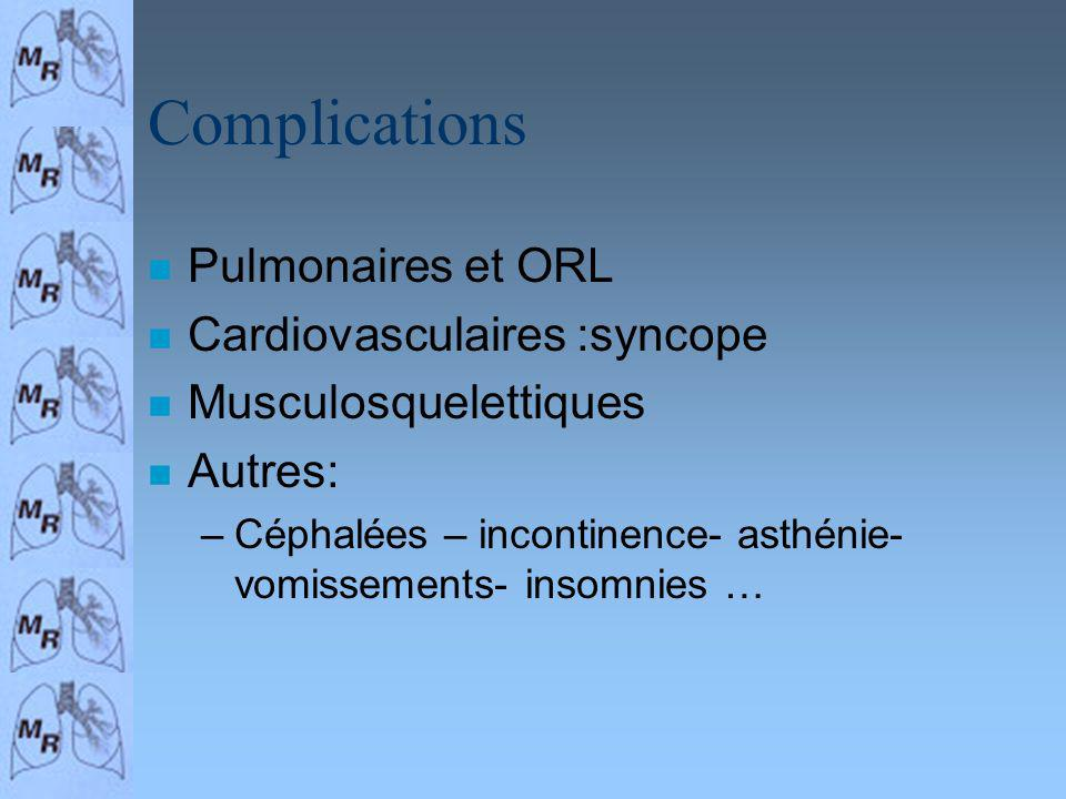 Complications Pulmonaires et ORL Cardiovasculaires :syncope
