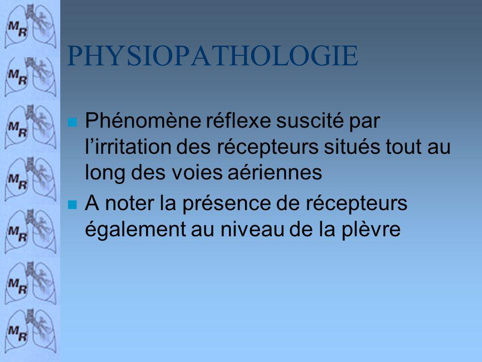 PHYSIOPATHOLOGIE Phénomène réflexe suscité par l'irritation des récepteurs situés tout au long des voies aériennes.