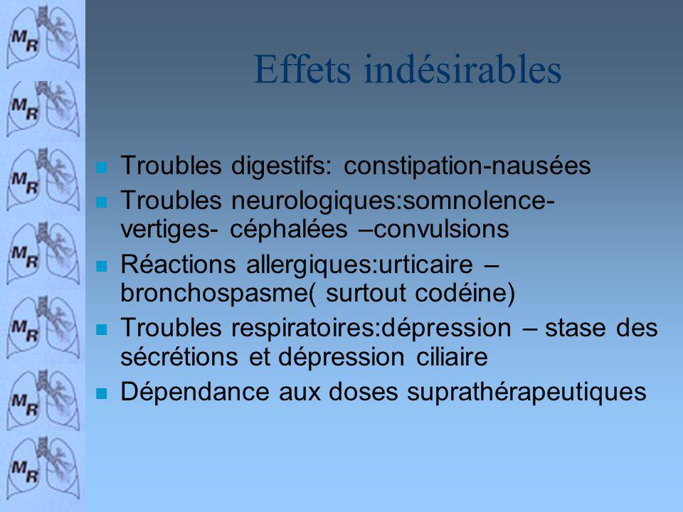 Effets indésirables Troubles digestifs: constipation-nausées