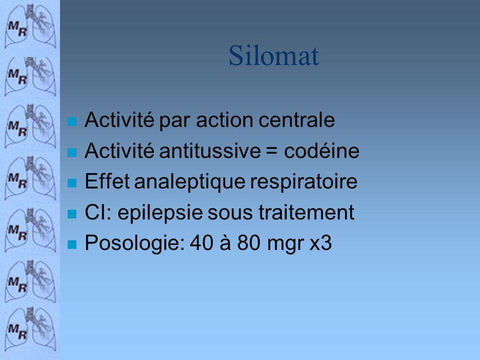 Silomat Activité par action centrale Activité antitussive = codéine