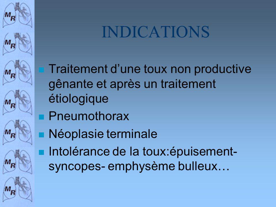 INDICATIONS Traitement d'une toux non productive gênante et après un traitement étiologique. Pneumothorax.