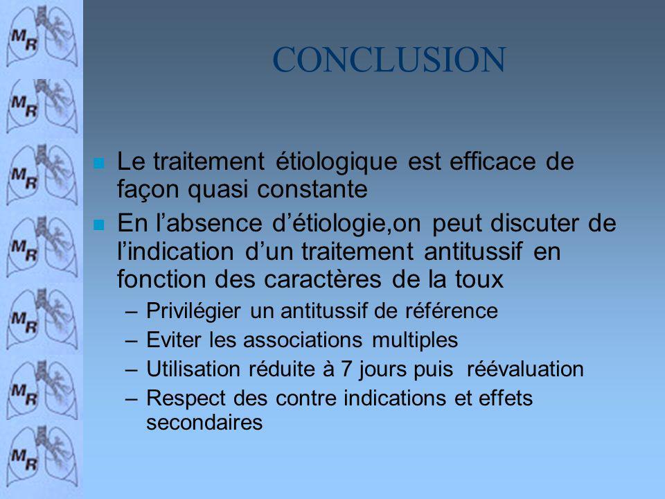 CONCLUSION Le traitement étiologique est efficace de façon quasi constante.