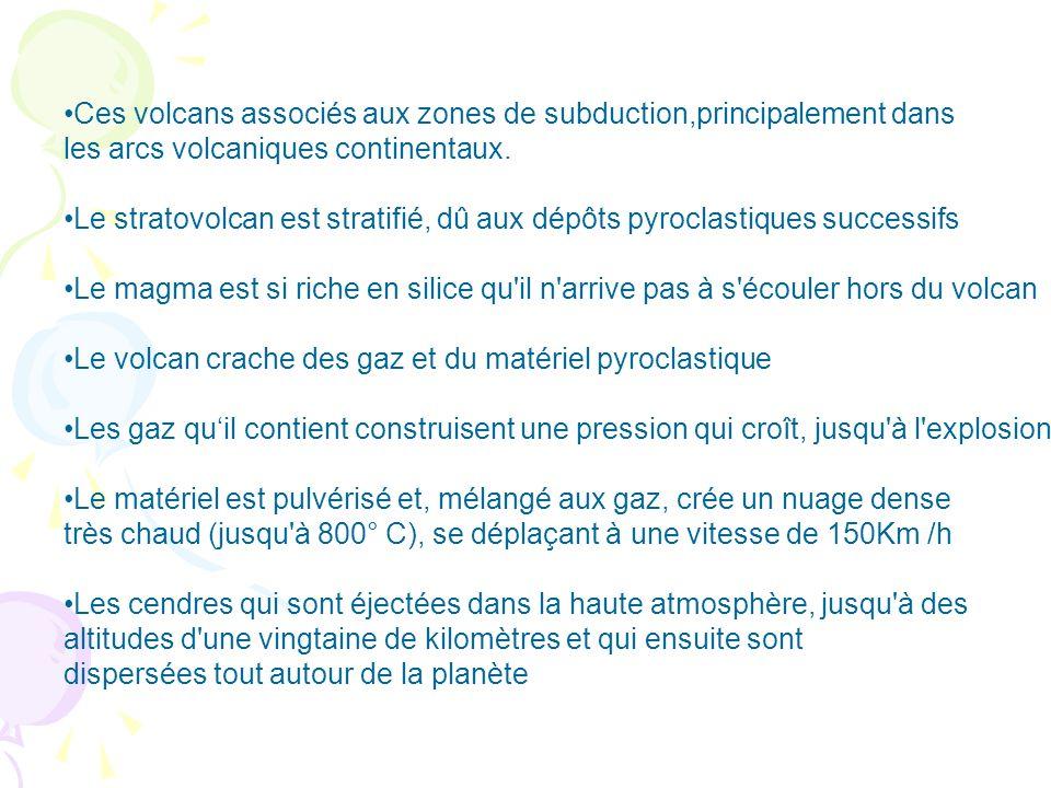 Ces volcans associés aux zones de subduction,principalement dans