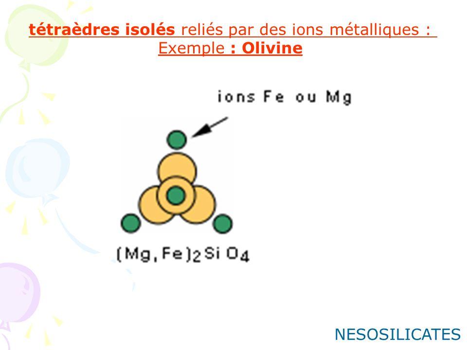 tétraèdres isolés reliés par des ions métalliques :