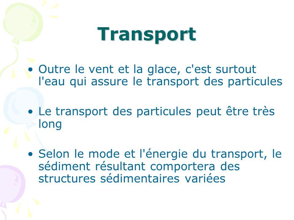 Transport Outre le vent et la glace, c est surtout l eau qui assure le transport des particules. Le transport des particules peut être très long.