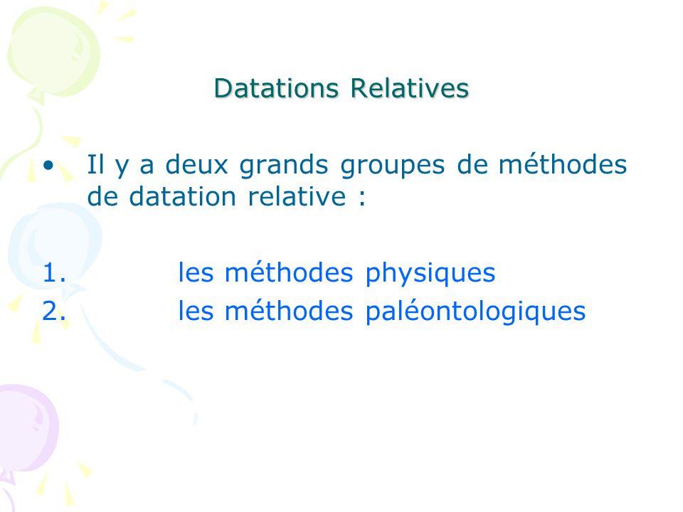 Datations Relatives Il y a deux grands groupes de méthodes de datation relative : les méthodes physiques.