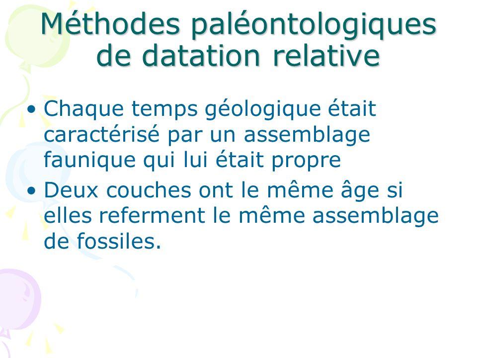 Méthodes paléontologiques de datation relative