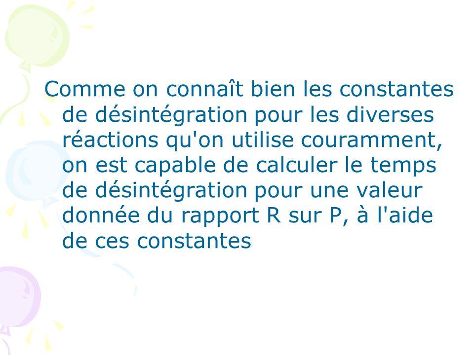 Comme on connaît bien les constantes de désintégration pour les diverses réactions qu on utilise couramment, on est capable de calculer le temps de désintégration pour une valeur donnée du rapport R sur P, à l aide de ces constantes