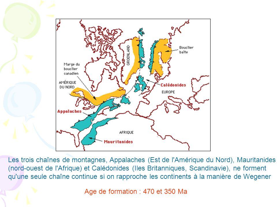 Les trois chaînes de montagnes, Appalaches (Est de l Amérique du Nord), Mauritanides