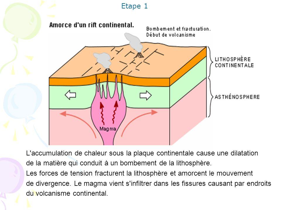 Etape 1 L accumulation de chaleur sous la plaque continentale cause une dilatation. de la matière qui conduit à un bombement de la lithosphère.