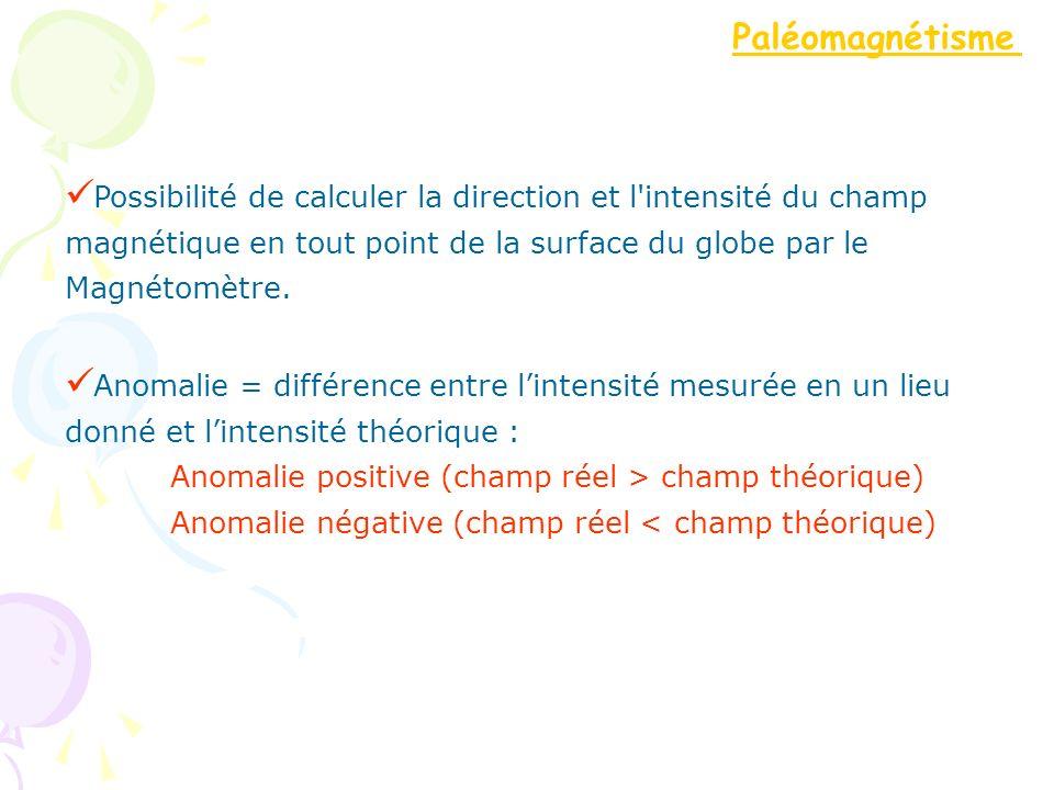 Paléomagnétisme Possibilité de calculer la direction et l intensité du champ. magnétique en tout point de la surface du globe par le.