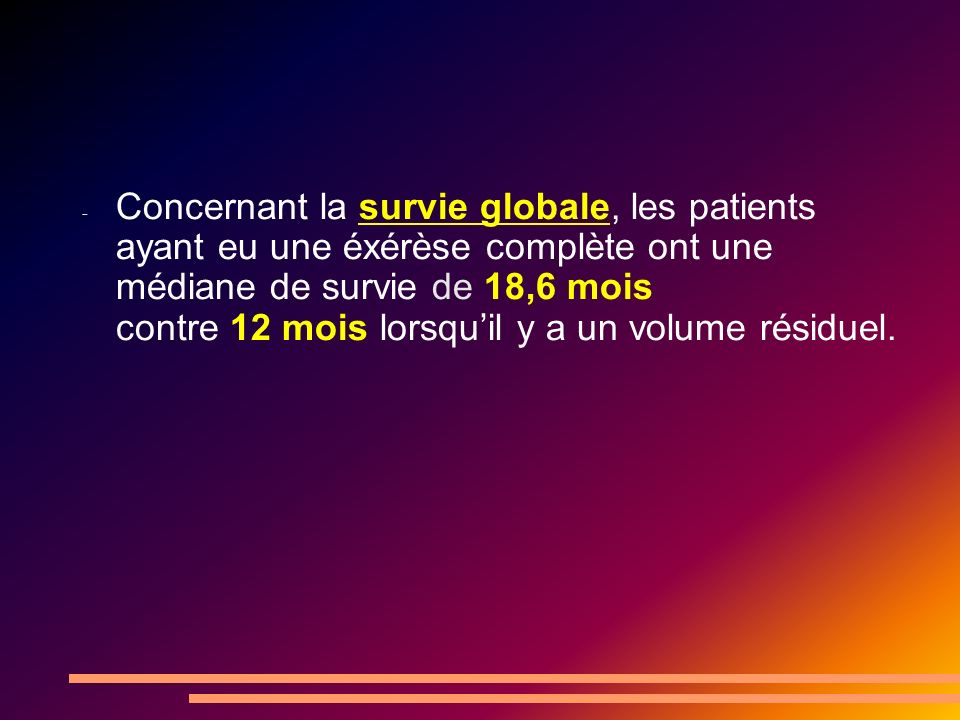 Concernant la survie globale, les patients ayant eu une éxérèse complète ont une médiane de survie de 18,6 mois contre 12 mois lorsqu'il y a un volume résiduel.
