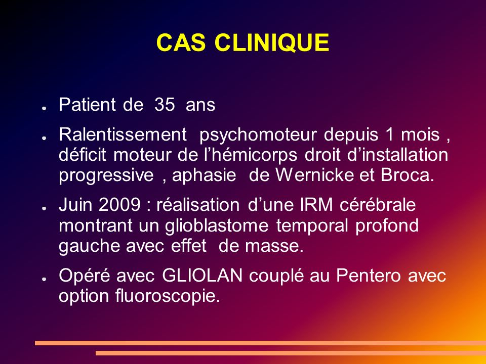 CAS CLINIQUE Patient de 35 ans