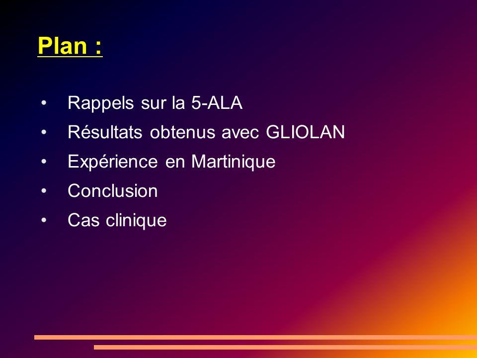 Plan : Rappels sur la 5-ALA Résultats obtenus avec GLIOLAN