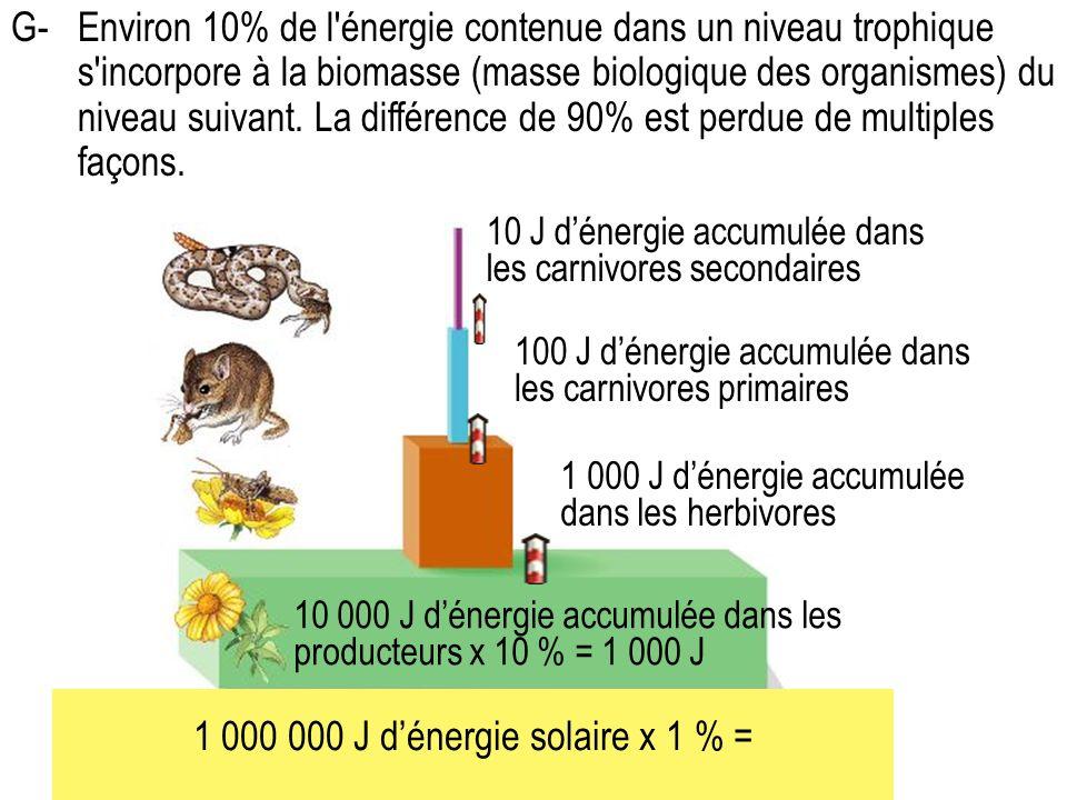 1 000 000 J d'énergie solaire x 1 % =