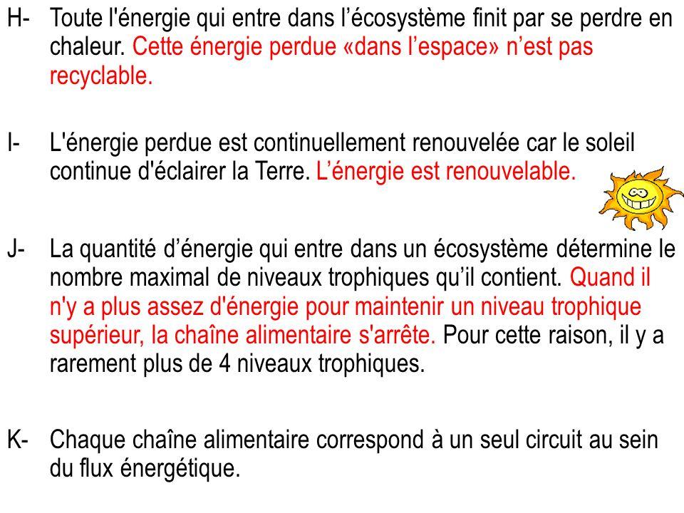 H- Toute l énergie qui entre dans l'écosystème finit par se perdre en chaleur. Cette énergie perdue «dans l'espace» n'est pas recyclable.