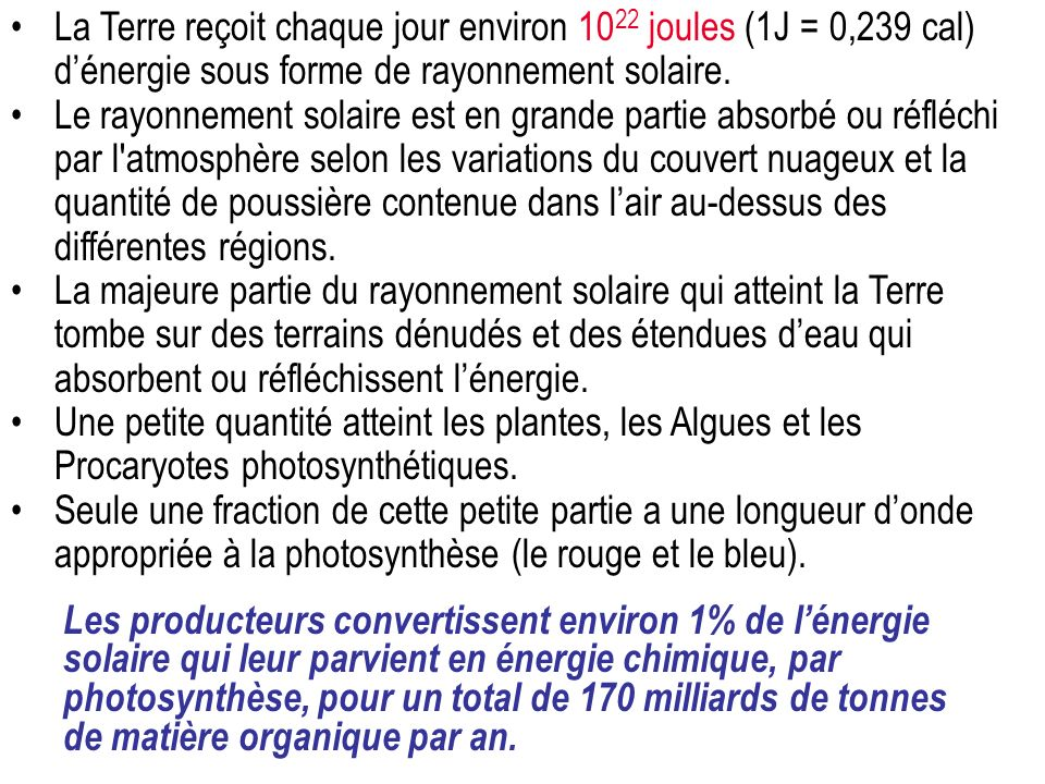 La Terre reçoit chaque jour environ 1022 joules (1J = 0,239 cal) d'énergie sous forme de rayonnement solaire.