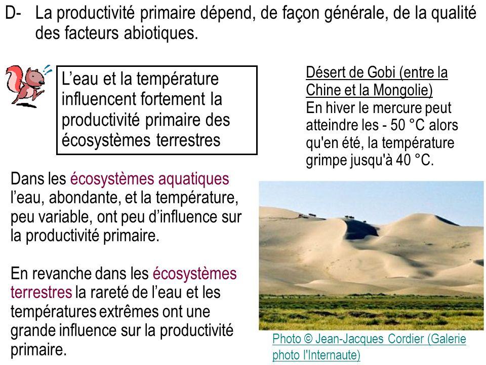 D- La productivité primaire dépend, de façon générale, de la qualité des facteurs abiotiques.