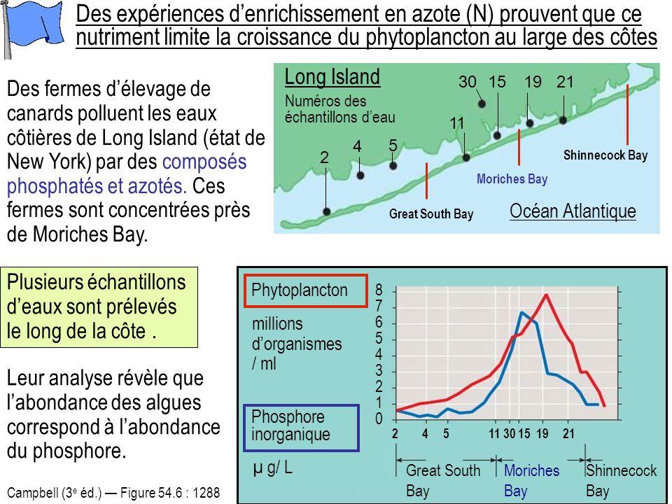 Des expériences d'enrichissement en azote (N) prouvent que ce nutriment limite la croissance du phytoplancton au large des côtes