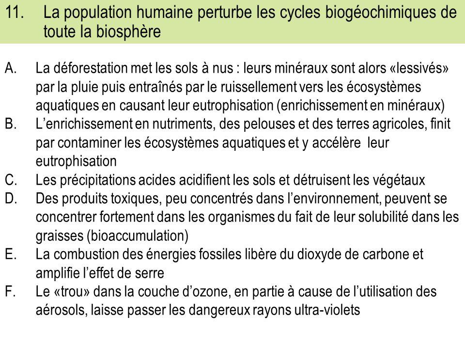 11. La population humaine perturbe les cycles biogéochimiques de toute la biosphère