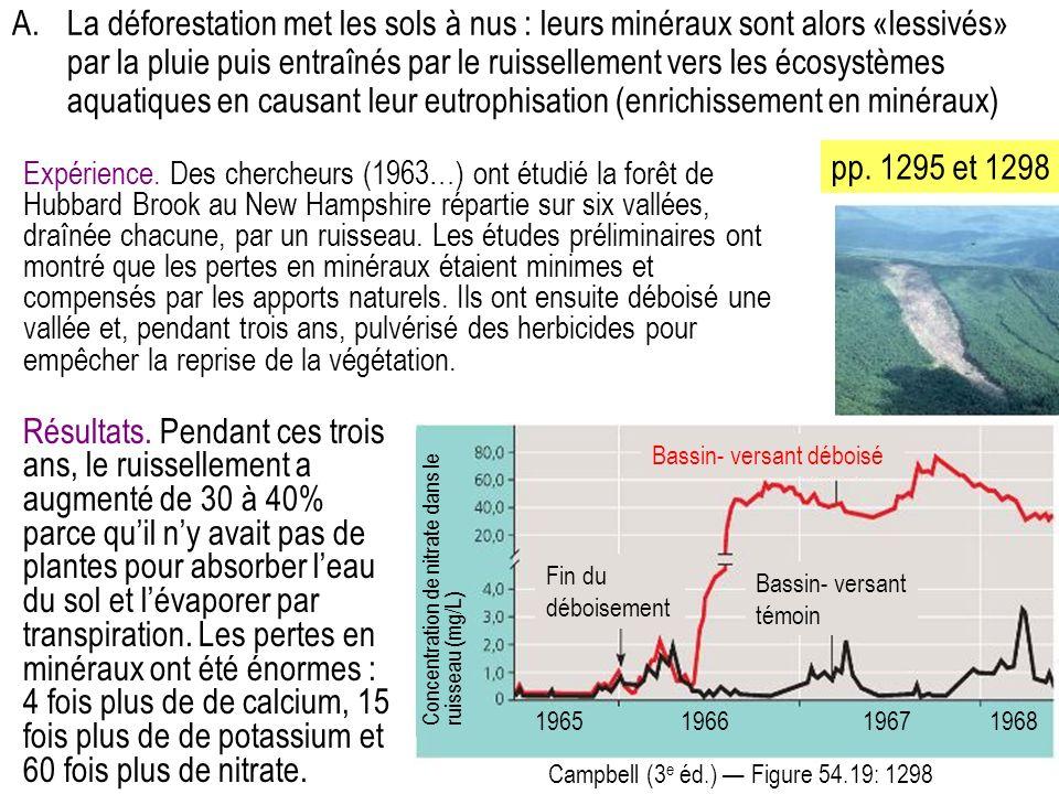A. La déforestation met les sols à nus : leurs minéraux sont alors «lessivés» par la pluie puis entraînés par le ruissellement vers les écosystèmes aquatiques en causant leur eutrophisation (enrichissement en minéraux)