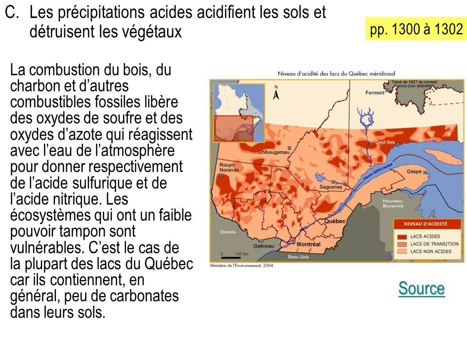 C. Les précipitations acides acidifient les sols et détruisent les végétaux