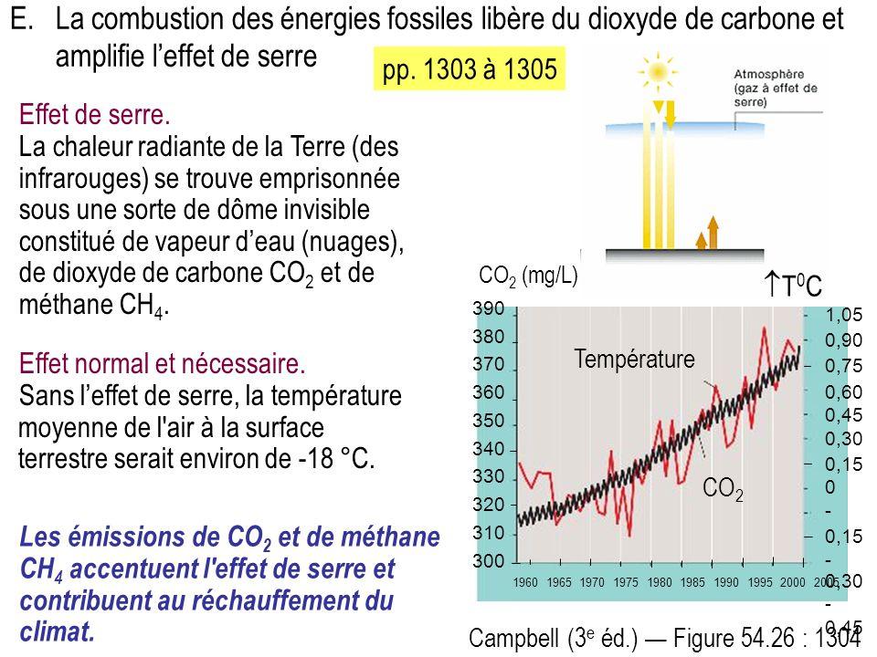 E. La combustion des énergies fossiles libère du dioxyde de carbone et amplifie l'effet de serre