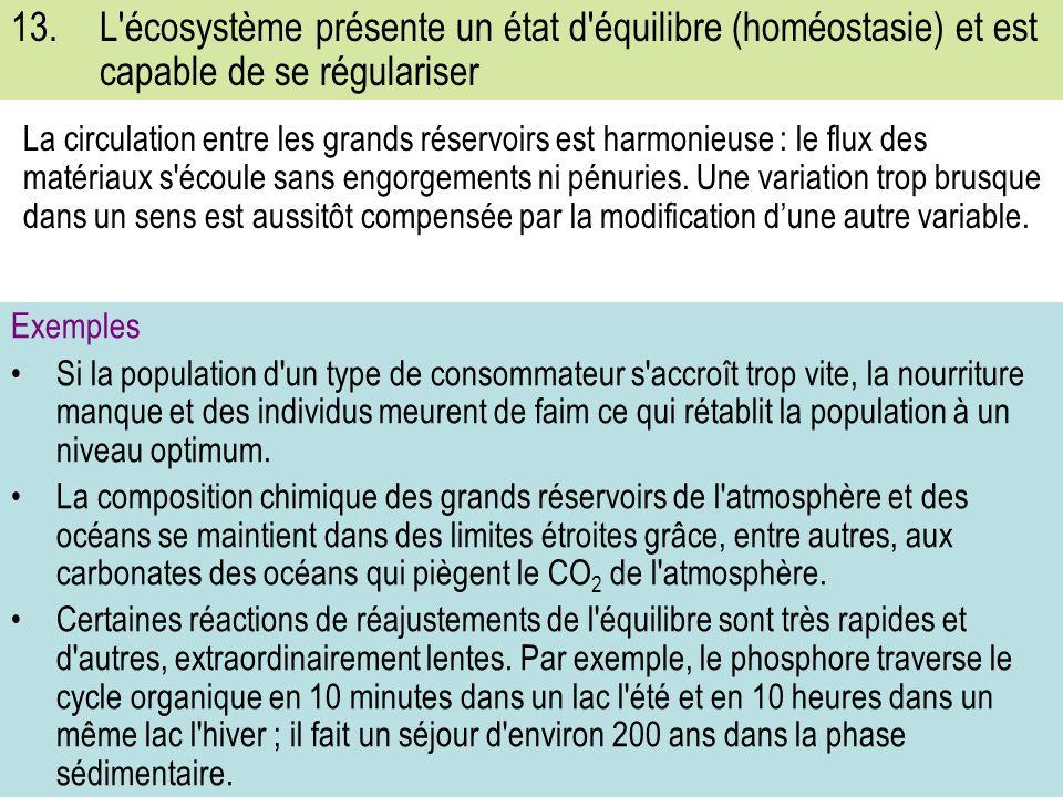 13. L écosystème présente un état d équilibre (homéostasie) et est capable de se régulariser