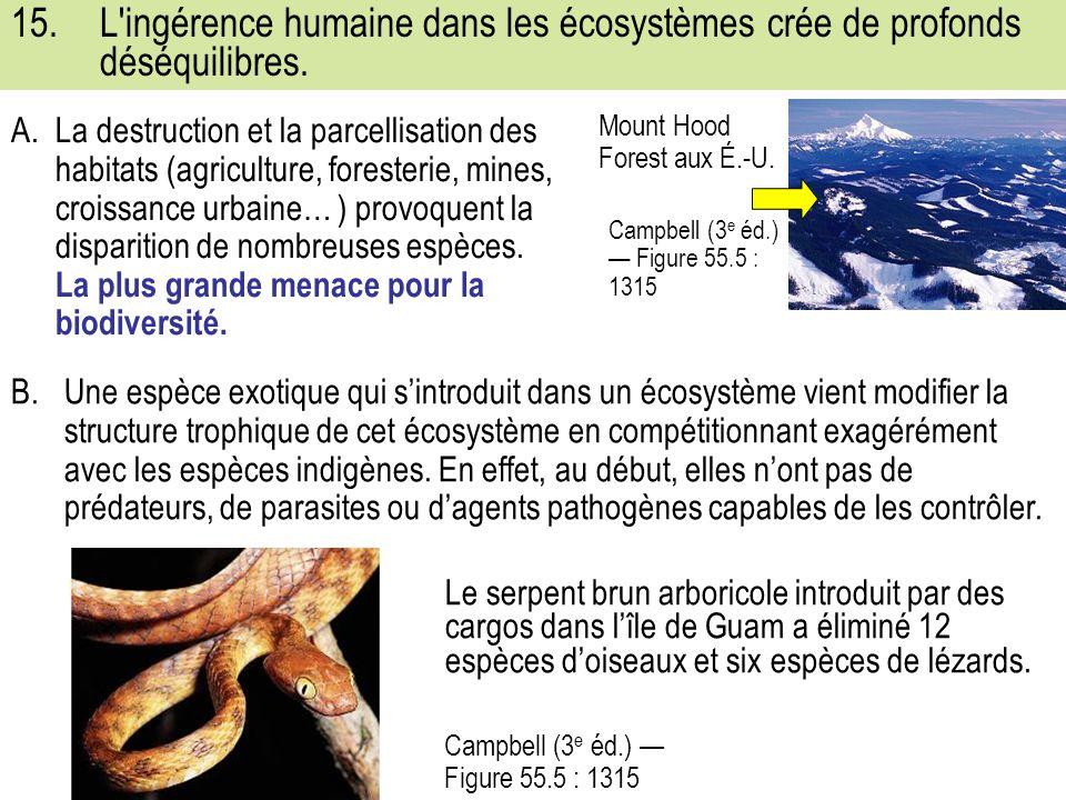 15. L ingérence humaine dans les écosystèmes crée de profonds déséquilibres.