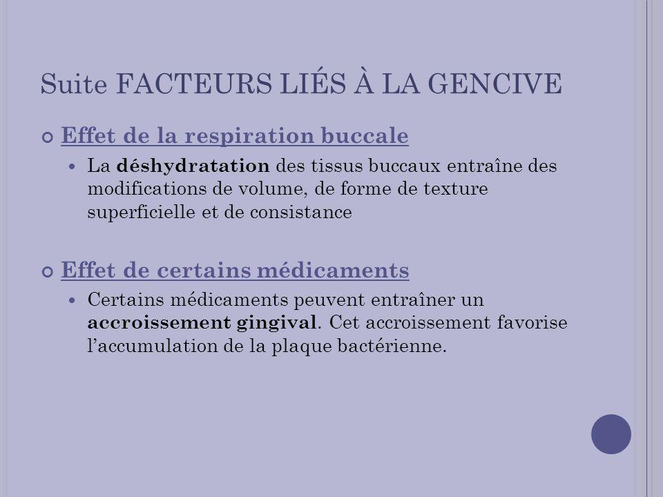 Suite FACTEURS LIÉS À LA GENCIVE